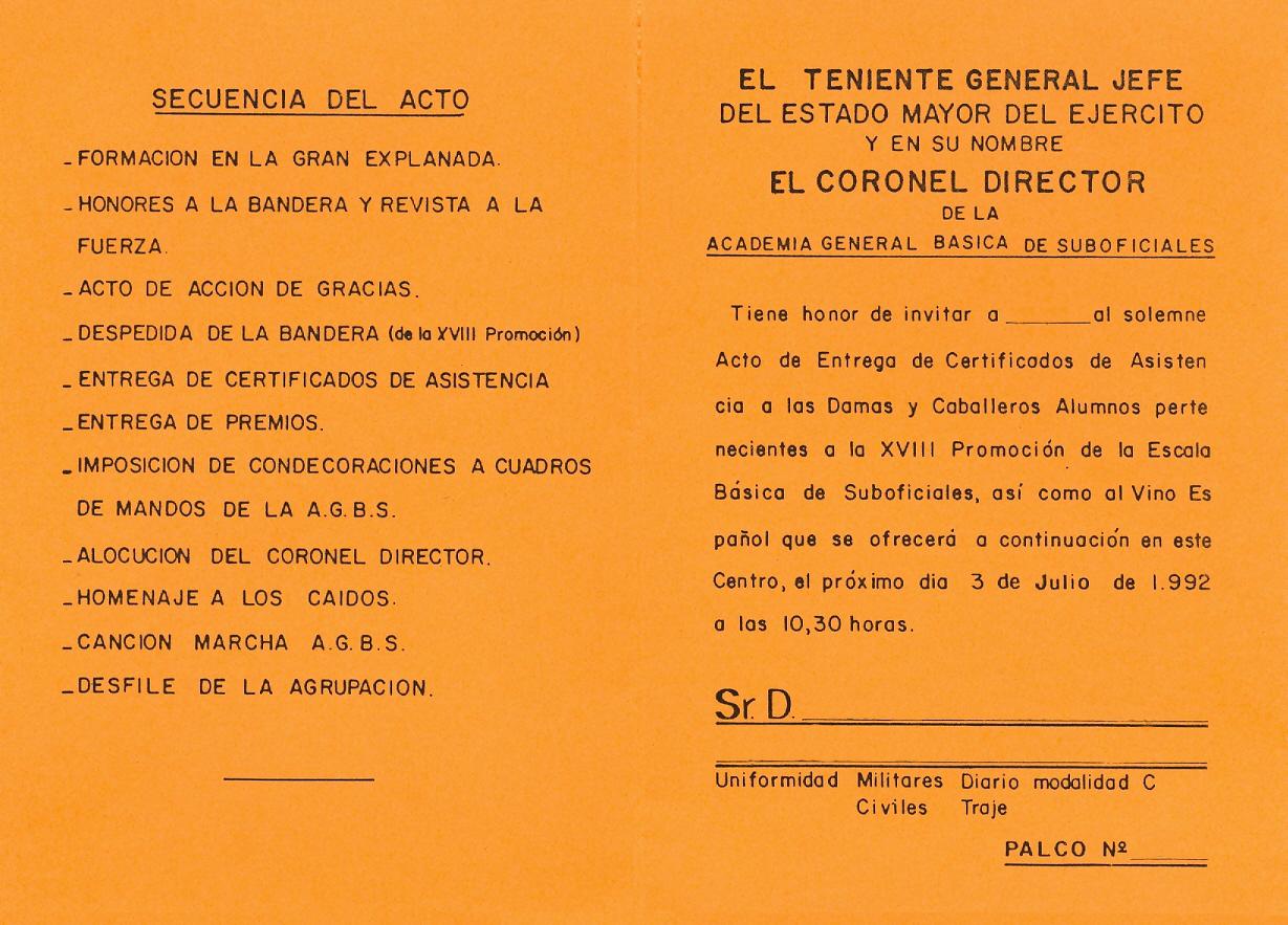 Invitaciones. Certificados Asistencia 18ª Prom. 1992 02