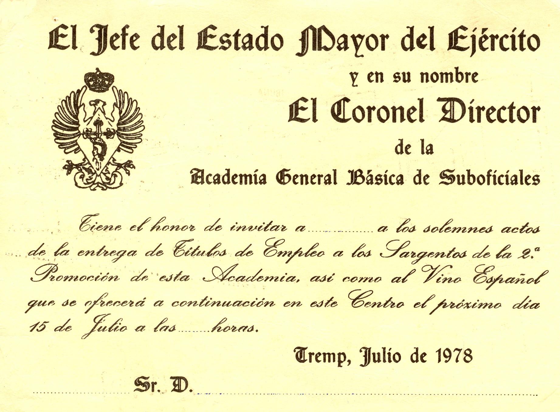 Invitaciones. Títulos Empleo 2ª Prom. 1978 01