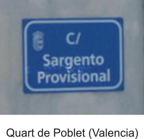 Placa calle Quart de Poblet