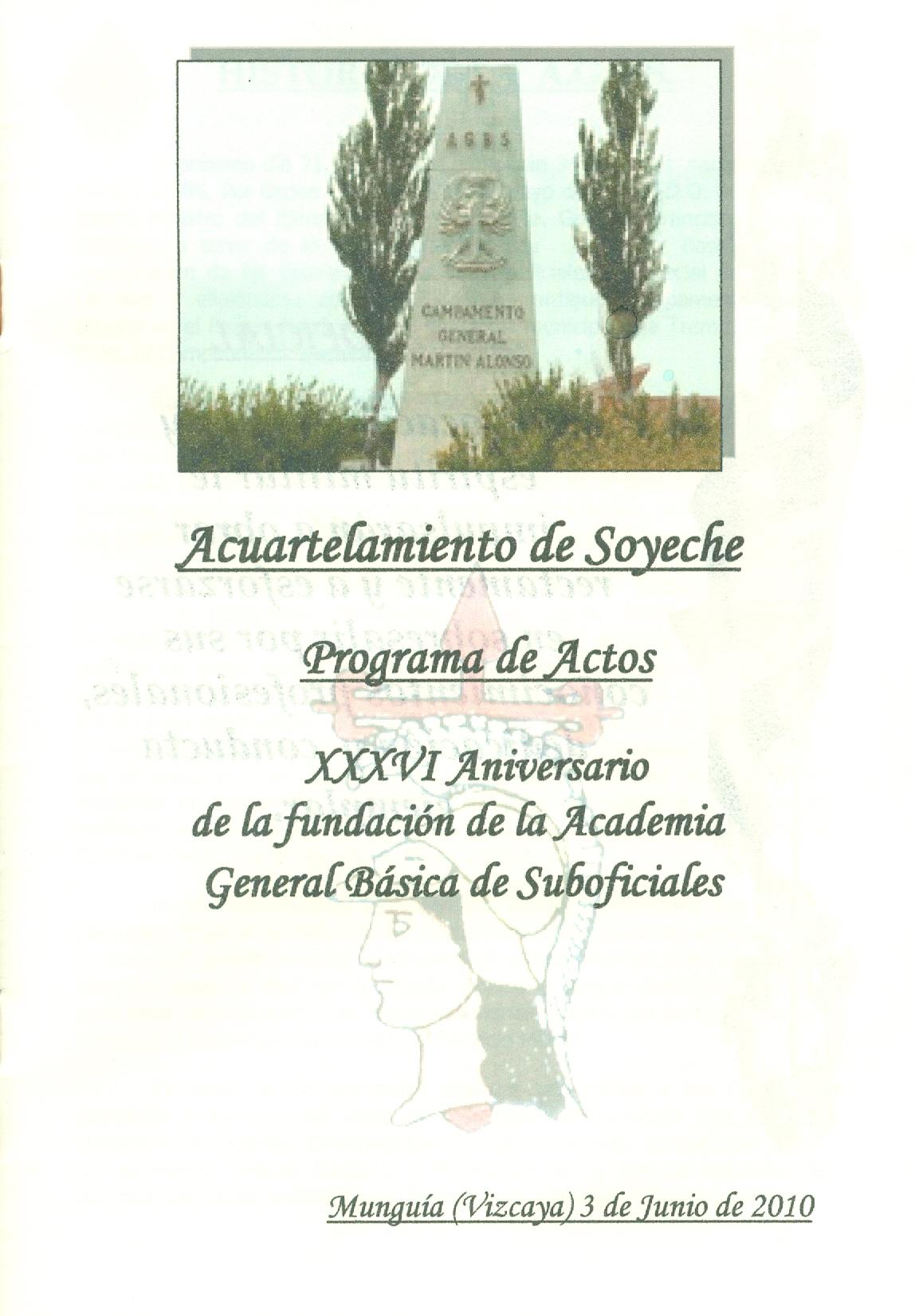 Aniversario AGBS 2010. Portada Programa