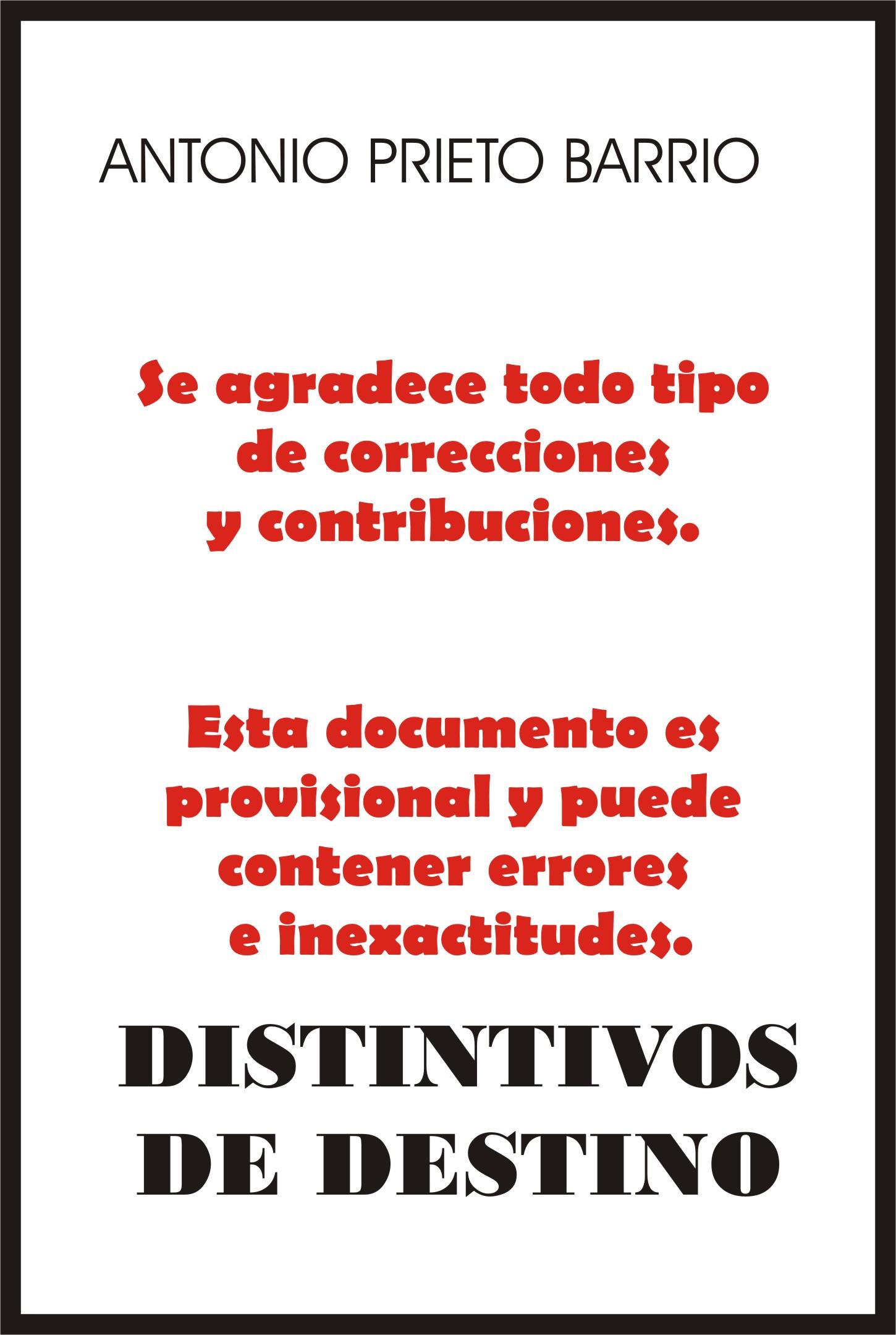 Portada Distintivos de destino. Antonio Prieto Barrio