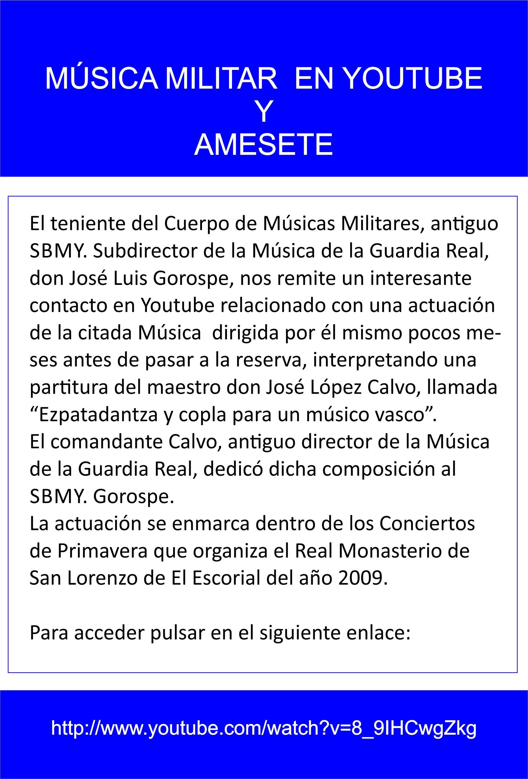 ALERTAS EN WEB. Enlace música militar. José Luis Gorospe