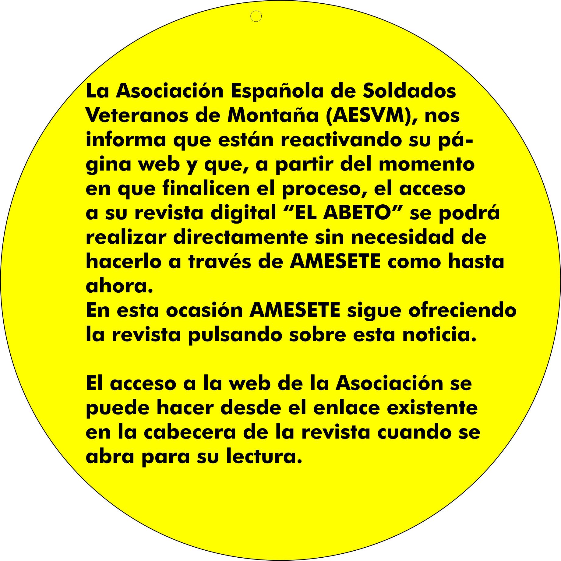 ALERTAS EN WEB. Nueva web de AESVM y revista digital EL ABETO