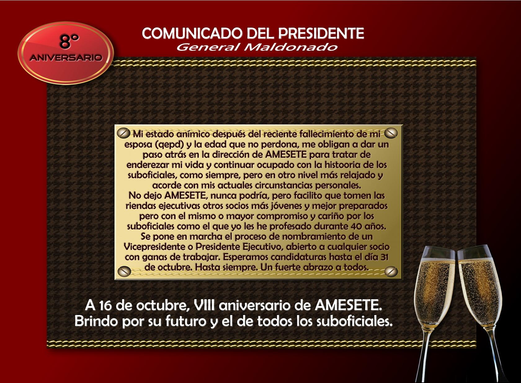 Comunicado del General Maldonado, Presidente de AMESETE