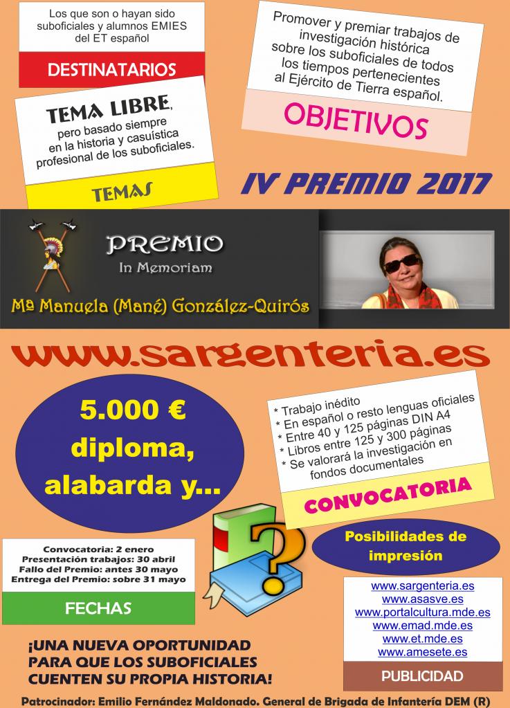 "IV Premio ""In Memoriam.Mª Manuela (Mané) González-Quirós"". Edición 2017"